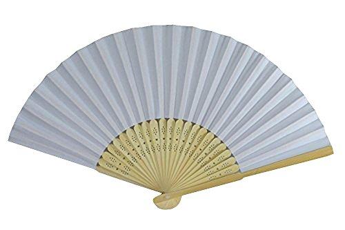 Rangebow PHF06-Blanc-Lot de 10 feuilles de Papier main Fan de gros Élégant bambou cadeau mariage faveur de la cage thoracique