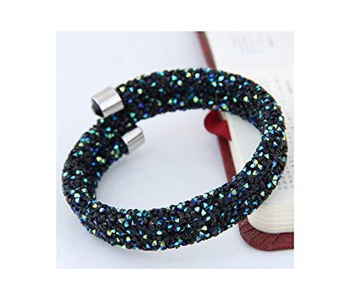 Sunwd Armband Armkette Freundschaftsarmbänder Crystal Cuff Bracelet Brand Open Bangles Fashion Charm Bracelets for Women Men Jewelry Silver Color Shiny Pulseiras 2 Layer Dark Blue - Dark Metal Base