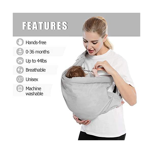 Cuby Baby Slings Carrier for Newborns and Breastfeeding (Grey) CUBY Durable Weight Baby Sling:Designed to carry babies who are 0 to 36 months old and weighing no more than 44 pounds. Five Different Carrying Positions: Including two perfect and convenient for breastfeeding. Cuby's baby carrier allows you to carry your baby in the same position they used in the womb, gives your baby a familiar sense of security and makes it easy for you to enjoy eye contact to bond with your new bundle of joy. Premium Cotton: The baby carrier by Cuby is made of 100% high quality cotton. It is soft, skin-friendly and breathable. 4