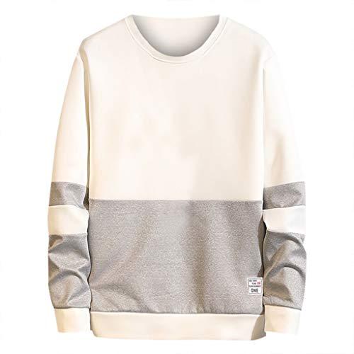 feiXIANG Herren Sweat Hood beiläufige Sweatshirt Patchwork Oansatz Sweatershirt Neue Lange Hülsen Männer Pullover (Grau,S)