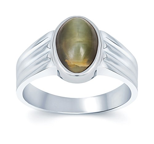 G-Luck Certified Natural Cat Eyes Lahsania 92.5 Sterling Silver Gemstone Ring For Men