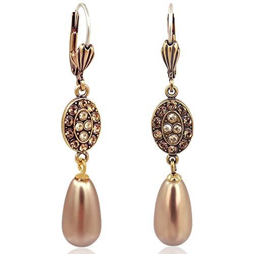 Jugendstil Ohrringe mit Kristallen von Swarovski® Gold Bronze Pearl NOBEL SCHMUCK