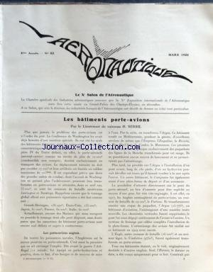 AERONAUTIQUE [No 82] du 01/03/1926 - SALON DE L'AERONAUTIQUE LES BATIMENTS PORTE-AVIONS PAR LE LIEUTENANT DE VAISSEAU SERRE - LE RECIT DE L'EXPEDITION POLAIRE D'AMUNDSEN par Collectif