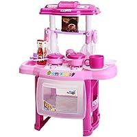 Vosarea Kids Kitchen Playsets Kitchen Pretend Play Toy Juguetes éducatifs Infantil para niños Rosa