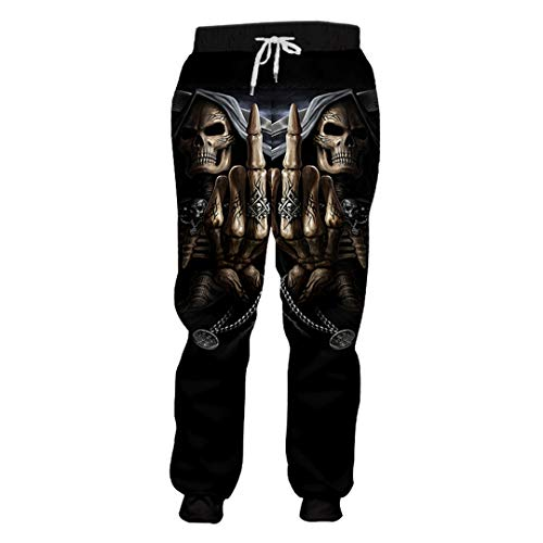 Bud SAQIU Männer Casual Sweat Pants Print Punisher Schädel 3D Pluderhosen Homme Workout Übung Ganzkörperansicht Jogger Punisher Skull XXXL (Homme Kostüm Paris)