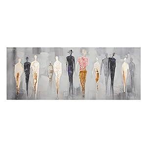 GILDE Bild People - Gemälde handgemamalt mit Aluminium H 40 cm B 100 cm