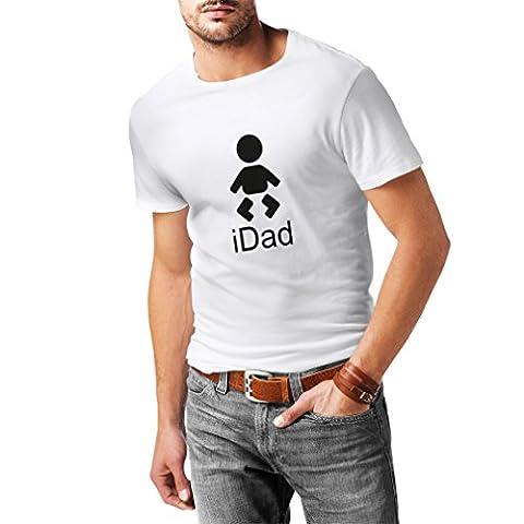 T-shirt pour hommes Idad Cadeaux pour la fête des pères Meilleur papa, nouveau-né (Large Blanc Noir)