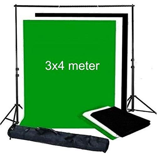 Bresser BR-BGS1 Set de 3 Supports de Fond 3 x 4 m Noir/Blanc/Vert