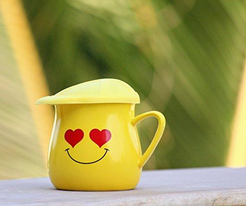 71% Satyam Kraft Ceramic Yellow Smiley Coffee Mug With Silicon Cap  Lid(RANDOM DESIGN).