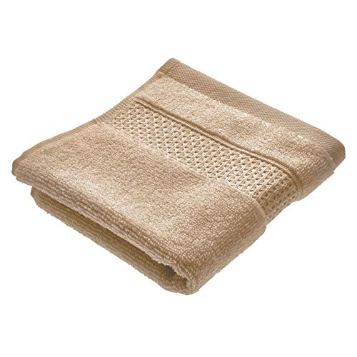 iDesign kleines Handtuch, Waschlappen mit gewebter Verzierung aus Baumwolle, weiches Gästehandtuch zum Gesicht- und Händewaschen oder für Dusche und Badewanne, beige -