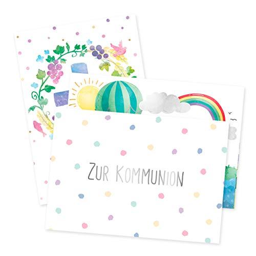 3er Set Glückwunschkarten zur Kommunion, fröhliche Kommunionkarten, Gratulation, Glückwunsch zur Erstkommunion, Geschenkidee, Geschenk, für Mädchen oder Jungen