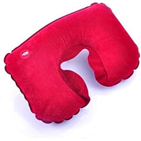 Liroyal Rojo Inflable Almohada de vuelo Viaje En Forma De U Cuello Resto Cojín de aire compacto