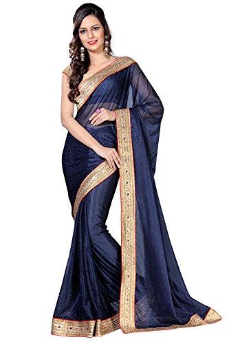 Livie Women\'s Art Silk Sarees Party Wear/Fancy Art Silk Sarees/Embroidered Art Silk Sarees - Navy Blue