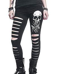 26e44ce26afe3e Hose Damen Stretch Skinny Destroyed Jeans Damen Zerissene Hosen Bleistift  Hosen Elegante Fashion Aufdruck Totenkopf.