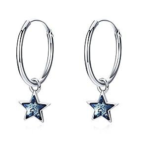 Creolen Stern 925 Sterling Silber Dangle 15mm Creolen mit Kristallen Valentinstag Geschenke für Frauen und Mädchen Geschenke