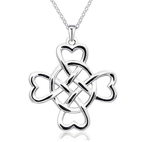 Monbo Nœud celtique irlandais Nœud ovale avec pendentif cœur Collier 925s Argent sterling 925avec chaîne en argent de 45,7cm Boîte