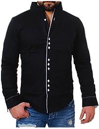 CARISMA Herren Uni Langarm Stehkragen Hemd Slimfit Tailliert Figurbetont  Party Club Look Optik Freizeit Casual… c5bbfc36c7