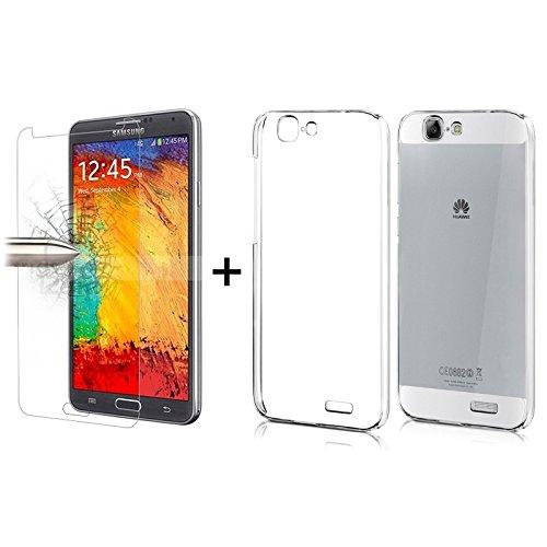 TBOC® Pack: Transparent Gel TPU Hülle + Hartglas Schutzfolie für Huawei Ascend G7. Ultradünn Flexibel Silikonhülle. Panzerglas Displayschutz in Kristallklar in Premium Qualität.