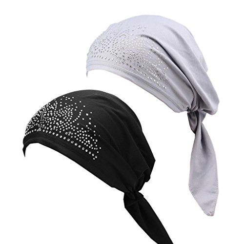2pcs Frauen muslimische Kopftuch Indische Turban-Hüte Turbanmütze Baumwolle Kopfbedeckung Schlafmütze für Haarverlust, Chemo, Krebs Cap Chemotherapie,Onesize (# Schwarz+Grau) -