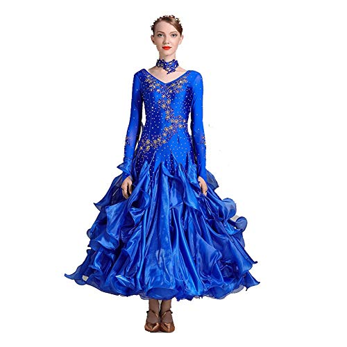 TFF Tanzrock Moderner Tanzrock Kostüme Nationaler Standard Tanzrock Diamant Wettkampfanzug Leistungskleidung (Color : Royal Blue, Size : (Schule Soziale Kostüm)