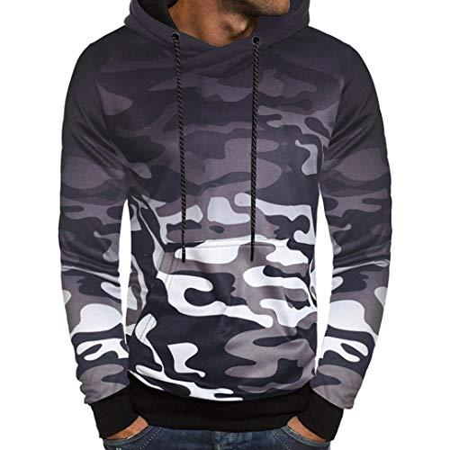 UFACE Herren Camouflage Langarm Hoodie Pullover Langarm Camouflage Hoodie Kapuzen-Sweatshirt Top Tee Outwear Bluse(Grau,3XL