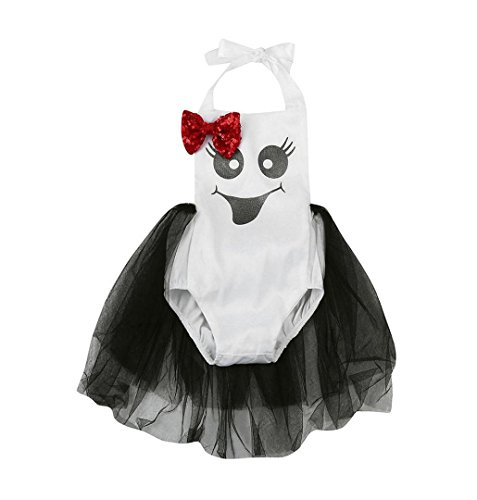 ZEZKT Baby Kostüm Halloween Ghost Overall Parteikleidung Infant Kostüm Mädchen Karneval Party Kleid Halloween Fest Teufel ----6-24 Monate (12 Monate /80) (Kleines Mädchen Ghost Kostüme)