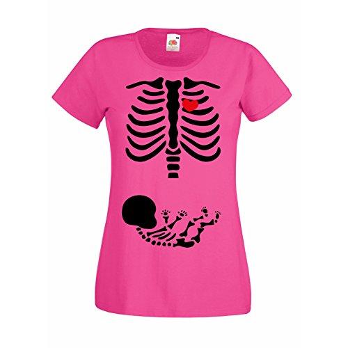 Damen T-Shirt Halloween Skelett Mama & Baby Allhalloween Party Kostüm, pink, XL (Skelett-kostüm Baby Für)