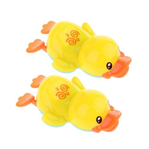 FLAMEER 2 Stücke Wind Up Schwimmen Gelbe Ente Kinder Baden Zeit Spielzeug Früherziehung - Badewanne Ente Gelbe