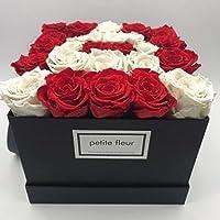 20 bis 25 konservierte Rosen langanhaltende farbenpr/ächtige dunkelpinke Bl/üten Petite Fleur Infinity Rosen Flowerbox L wei/ß quadratisch 20 x 22 cm