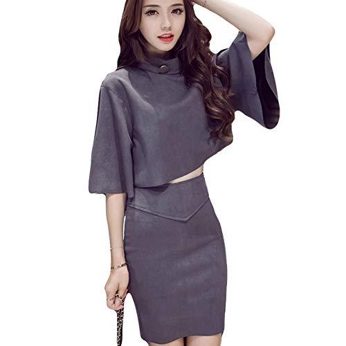 MEIZIZI Nachtmarkt Damen Herbst 2-Teilig Damenbekleidung Lose Mantel Jacke Hüfte Zweiteiler Rock Anzug, Grau, L -