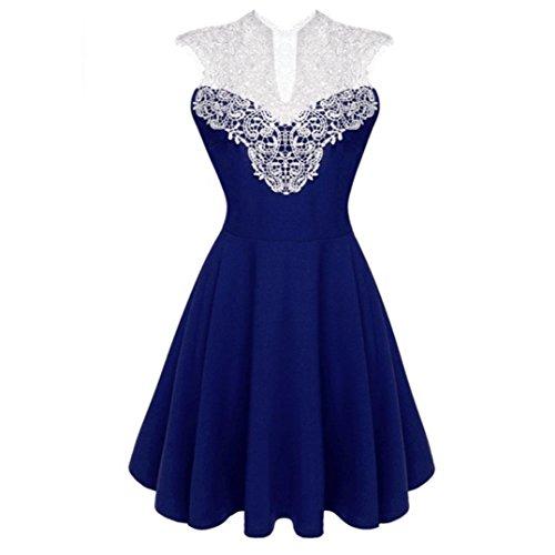 84084b9872397 Amlaiworld damen Hohl Spitze Spleiß kleider elegant locker V-Ausschnitt  Plissee Kleid mode kleidung Für