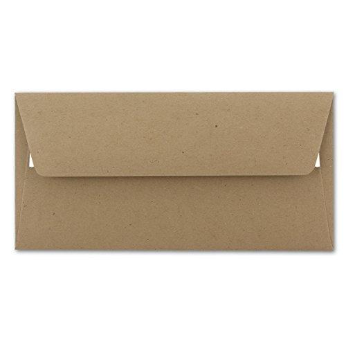 Briefumschlag in DIN Lang Format aus Kraft-Papier in sandbraun | 50 Stück | Nassklebung | Blanko Brief-Umschläge aus Recycling-Papier | Post-Umschläge ohne Fenster | Serie UmWelt