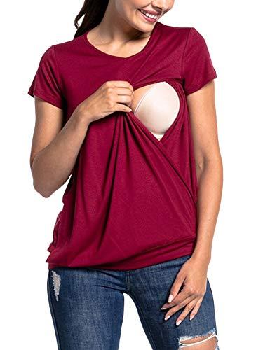 besbomig Mujeres Maternidad Enfermería Embarazada Mamá Camiseta para Amamantamiento Facil Tops - Verano Manga Corta Casual Camisa