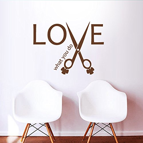 mairgwall Friseur Schere Decor Love what you do Beauty Spa Shop Decor Stylisten Wand Grafiken, Vinyl, Custom, 43