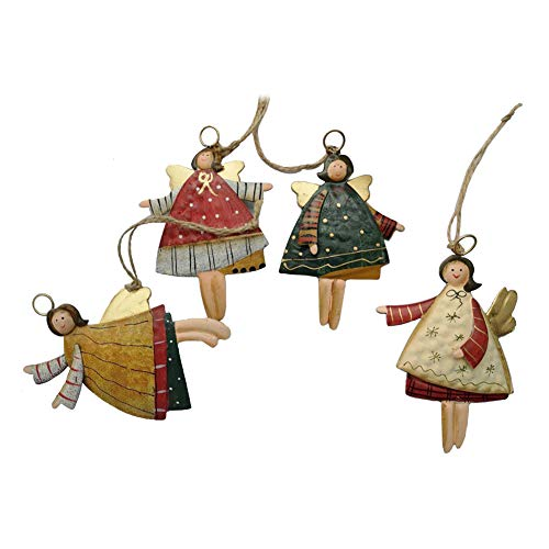 weihnachten engel anhänger - 4 Holz Engel Anhänger Weihnachts dekoration Hängender Schmuck von Innovativen Elchform Socken Schneeflocken für Weihnachtsbaum Fensterschmuck