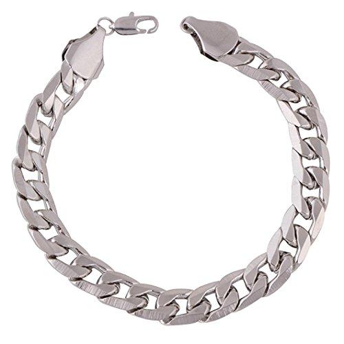 Upxiang Männer & Frauen Armband Kette, Einfache Kette Armband, Gefüllt Curb Cuban Link Gold Armband, Mode Luxus Schmuck Kette (Silber) (Für Cuban Frauen Link-armband)