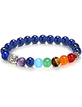 8mm Armband Energie tibetischen 7Chakren Steine Perlen ausziehbar, pièrre blau, Kopf silber Buddha-Lama