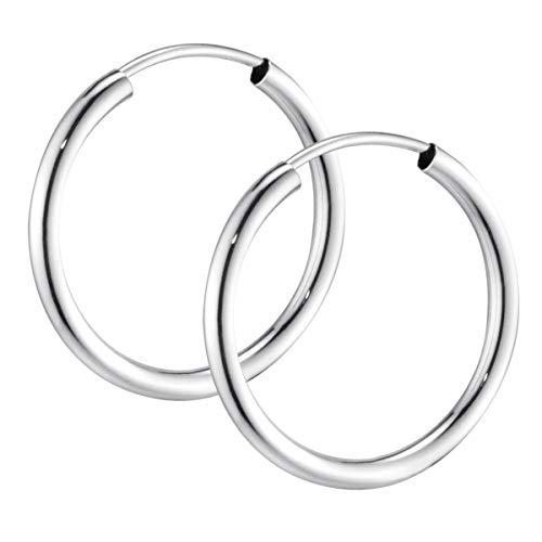 MATERIA Ohrringe Creolen Damen Herren klein - 925 Sterling Silber Ohr-Piercing 13mm dünn für Frauen Männer SO-368