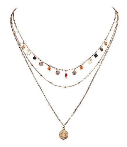 SIX Halskette enganliegende antik goldene Kette dreiteilig mit Metallperlen orange braun rot Glasperlen Metallplättchen Anhänger Medaillon (758-728)