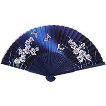 Hosaire ELegante Abanico de Bambú Hecho de Mano de Color Negro y Azul Oscuro Flores y mariposas