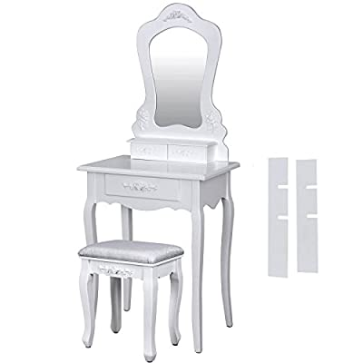 Songmics Pretty Rose Dressing Table Set with 1 Large Mirror and Stool produced by Songmics - quick delivery from UK.