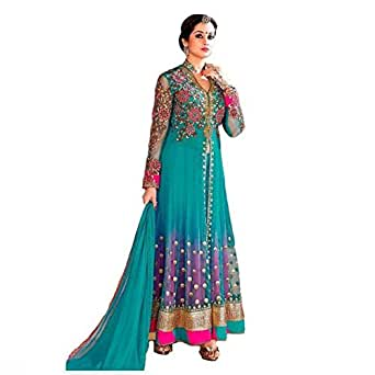 Karma Fashion Aqua Green Women's Faux Gergotte Semi Stitched Party Wear Anarkali Suit