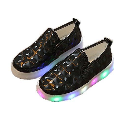 Kinderschuhe, Chickwin Baby LED Kinderschuhe Mädchen Weich Und Bequem Rutschfest Bunte LED-Leuchten Schuhe Lässige Schuhe Flashing Schuhe (24 / Maß Innen (cm) 14.6, Schwarz)