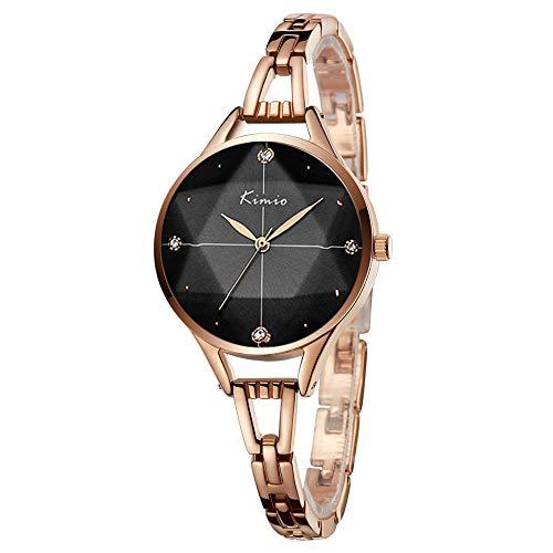 GOHUOS Frauen Rosegold Armband Quarz Uhr, Damen Kristall Analog Stahl Armbanduhr Mädchen wasserdichte Beiläufige Uhr mit Schwarzem Zifferblatt