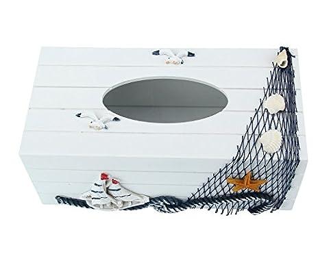 niceEshop(TM) Tissue Box Cover/Holder Mediterranean Sailboat Style,9.5x4.7 In/24x12cm,Pine,white