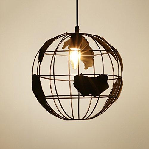 Modeen Loft retro de la tierra de modelado de hierro techo luces colgantes creativa lámpara de araña ajustable con fuente de luz E27 para la cocina restaurante comedor granero almacén granero ( Color : Black , Size : Diameter 30cm )