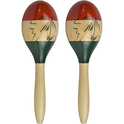 Natural Hand Painted Wooden Maracas - Full Size Pair