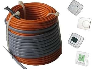 Fußbodenheizung Elektro lose Heizleitung Temperaturregler TWIN Technik 1-20 qm, inkl. Regler, Regler:Nr 760 (Digital-Regler);Länge Heizleitung:155 m