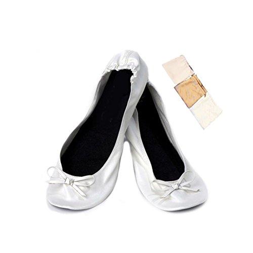 Lote de 20 Bailarinas Manoletinas Plegables Blancas para Bodas en Bolsa de Regalo de Satén - DISOK...