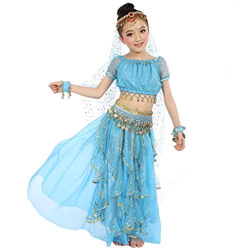 Magogo Mädchen Bauchtanz Kostüm Geburtstagsparty Kostüm, Kinder Cosplay Arabische Prinzessin Dancewear Glänzende Karneval Outfit (S, - Pantomime Kostüm Von Aladdin